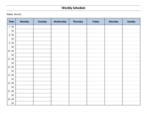 weekly schedule free tunnelvisie