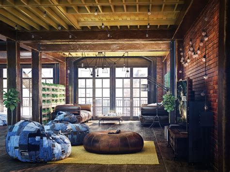 loft style living room loft living room design with modern industrial style