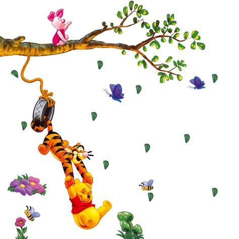 winnie the pooh wall stickers for nursery winnie the pooh swing on branches wall decal for baby nursery