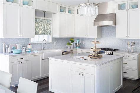 kitchens with mosaic tiles as backsplash white kitchen with blue mosaic tile backsplash