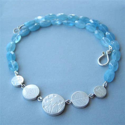 aquamarine bead necklace 5 bead aquamarine coin necklace contemporary necklaces