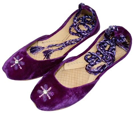 purple beaded shoes womens purple beaded velvet ankle wrap indian leather