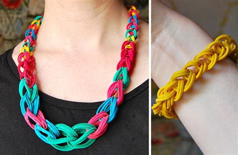make rubber band jewelry rubber band chain necklace and bracelet rags to couture