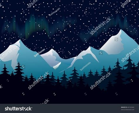 silhouette lights an illustration of mountain landscape with northern lights