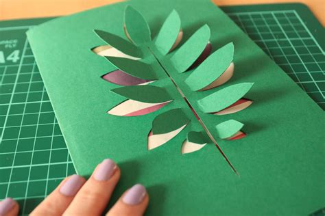 paper leaves craft diy paper cut leaf card shelley makes