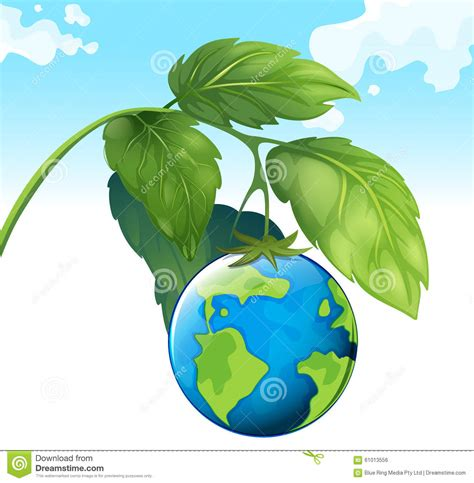theme save earth save the world theme with earth and plant stock