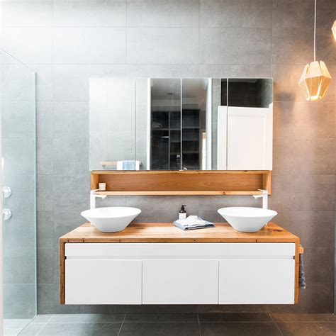 waterfall bathroom vanity recycled timber waterfall sides vanity contemporary