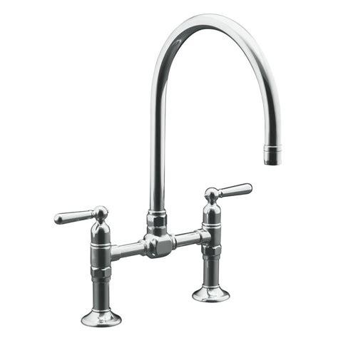 bridge faucets kitchen kohler hirise deck mount 12 in 2 handle high arc bridge