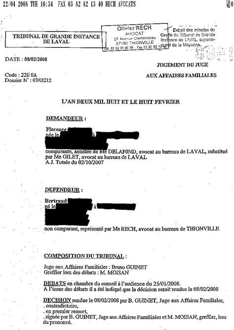 Modification Jugement Jaf by Modele Lettre Jaf Document
