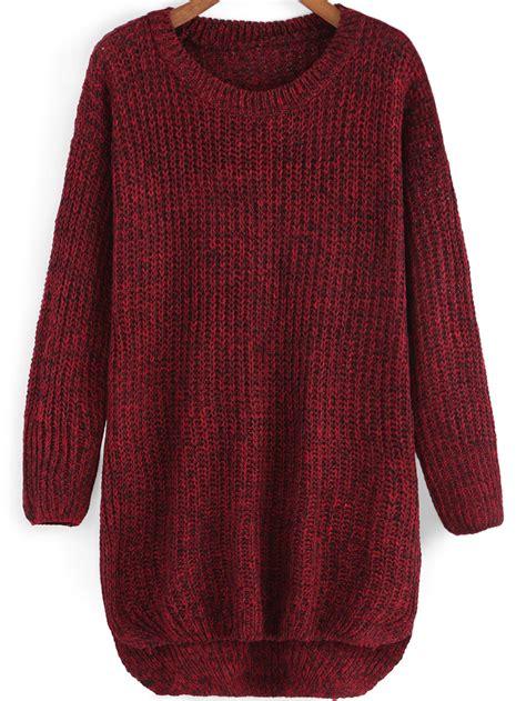 knit sweater neck dip hem knit sweater