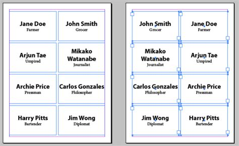 how to make name cards flipping frames to make front and back of page align