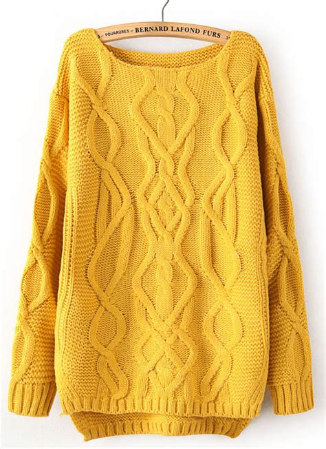 mustard yellow knit sweater yellow sleeve cable knit pullover sweater shein