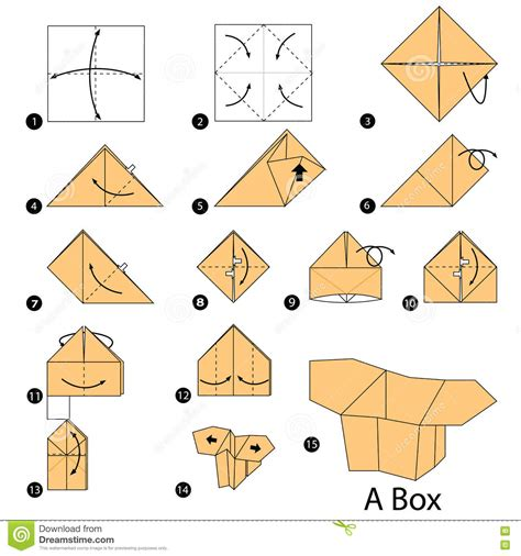 origami box step by step step by step how to make origami a box stock