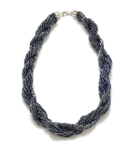 multi strand black bead necklace black multi strand beaded statement necklace on luulla