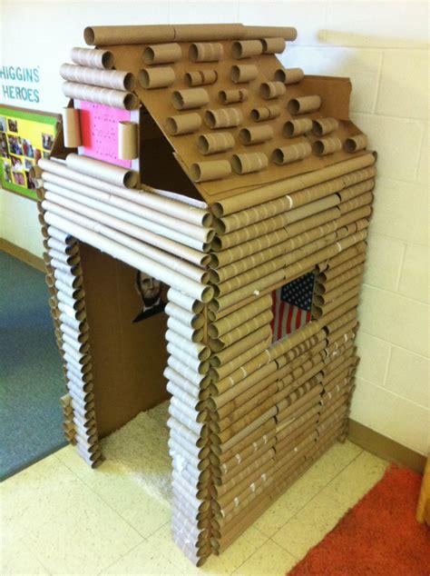 cardboard paper craft cardboard box and paper towel gift wrap log cabin