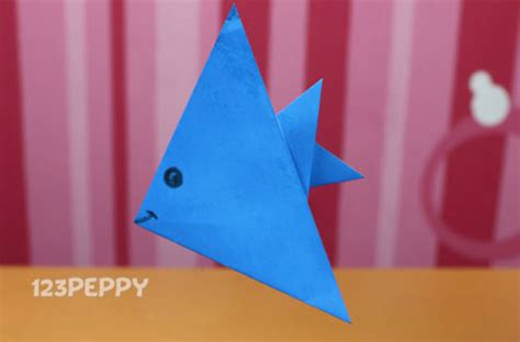 simple origami for kindergarten how to make a paper fish 123peppy