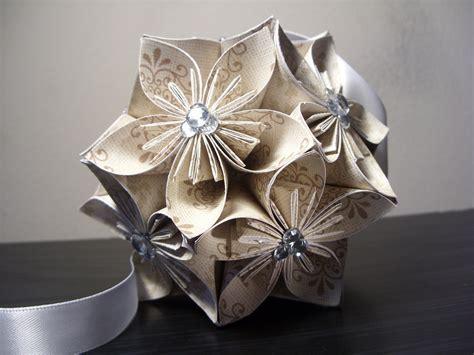 origami flower balls wedding w rhinestones kusudama origami paper flower