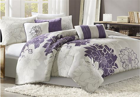 comforter set lola gray purple 7 pc comforter set linens