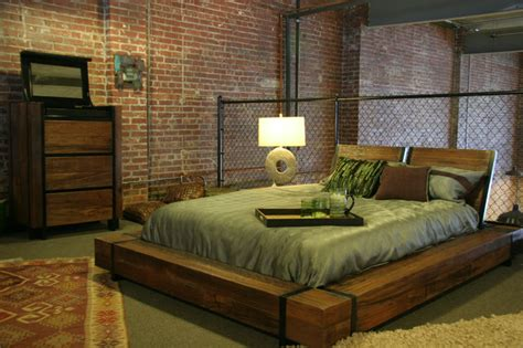 industrial bedroom furniture industrial chic wood platform bed industrial bedroom