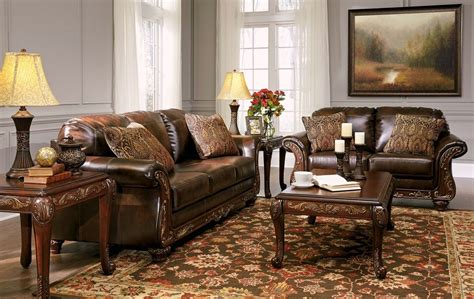 wood living room set vanceton brown leather traditional wood sofa loveseat