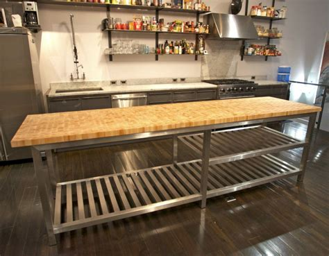 Mobile Kitchen Island Butcher Block chic stainless steel kitchen island with butcher block top