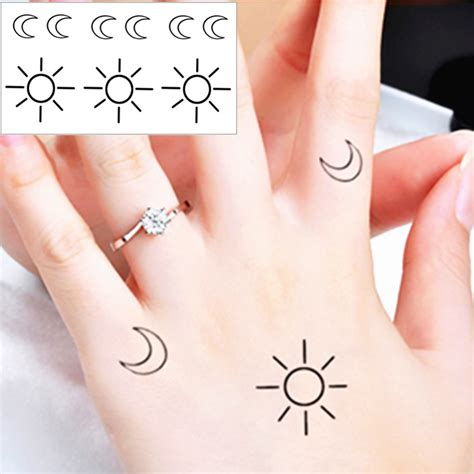 25 style temporary tattoo body art small sun and moon
