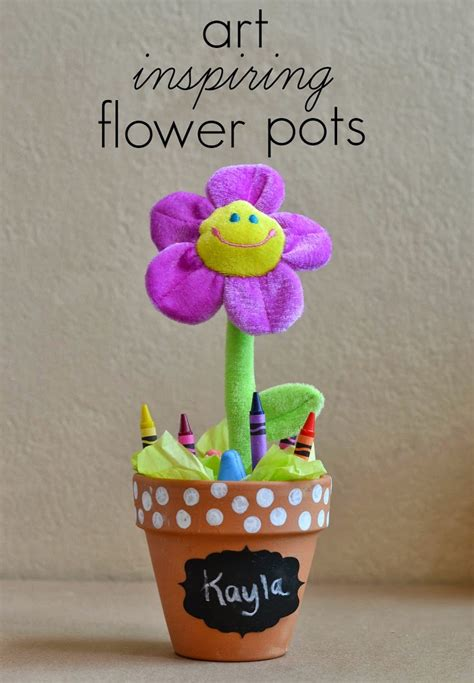 flower pot kid craft diy crayon sidewalk chalk flower pots for hello