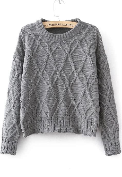 knit sweater grey sleeve cable knit sweater shein sheinside