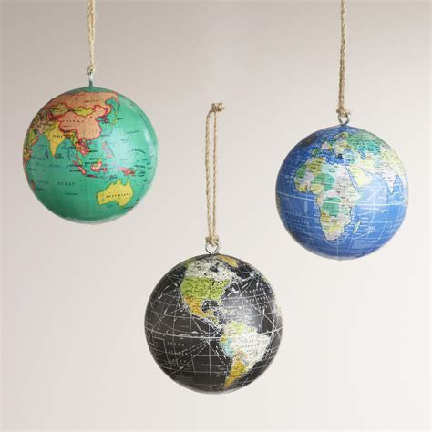globe ornaments paper globe ornaments set of 3 world market