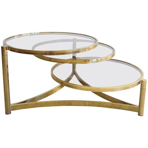 milo baughman coffee table milo baughman tri level brass and glass swivel coffee