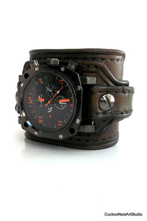 mens leather watches leather cuff s leather wrist leather cuff bracelet chocolate