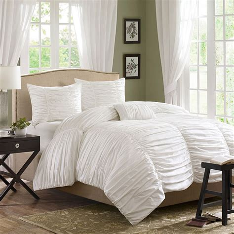white bedding ruched bedding