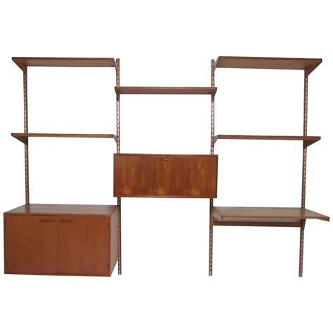 modern built in desk mid century modern teak wall mounted shelving unit with
