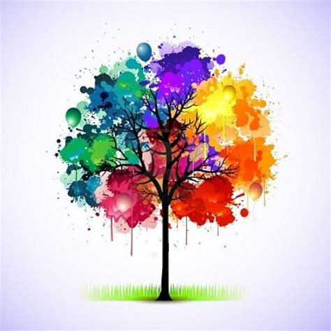 colorful tree rainbow watercolour and ink tree water color techniques