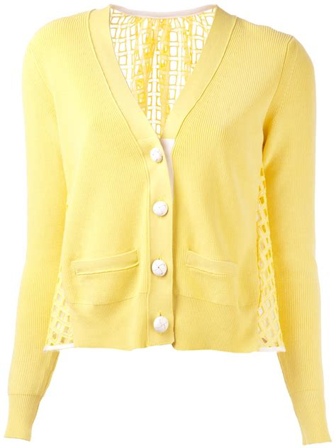 yellow knit cardigan sacai knit front cardigan in yellow yellow orange lyst