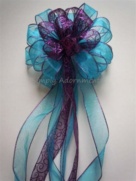 purple bows for trees purple blue winter wedding pew bow tree topper