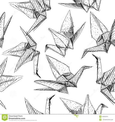origami crane pattern origami paper cranes set sketch seamless pattern black