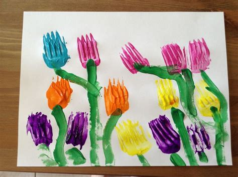 crafts for preschool tulip craft painted with forks flower craft