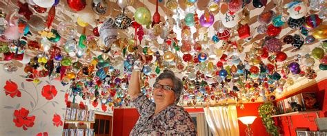 how to hang decorations grandmother hangs 2 530 ornaments on ceiling
