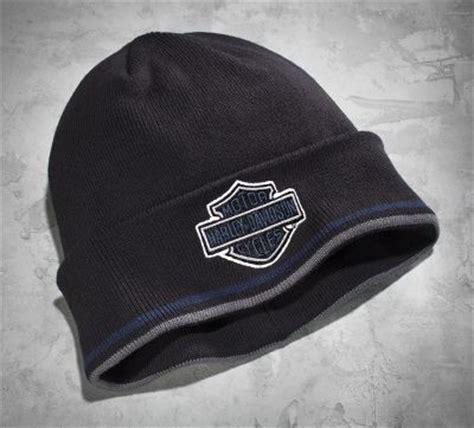 harley knit hat s bar shield logo cuff knit hat cold weather