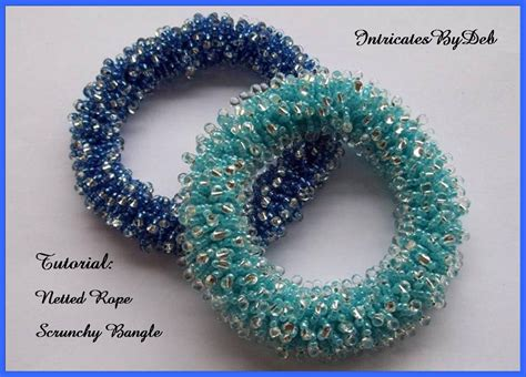 beading pdf tutorial beaded netted rope scrunchy bangle bracelet