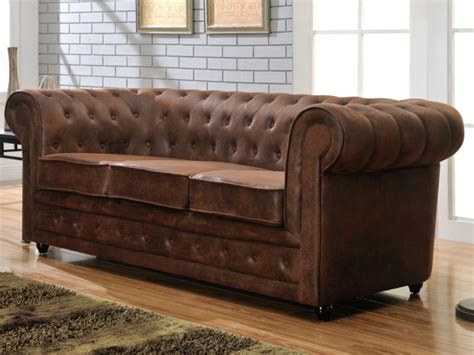 canap 233 3 places chesterfield en microfibre aspect cuir vieilli canap 233 vente unique ventes pas