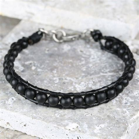 leather and bead bracelet s black leather and bead bracelet by