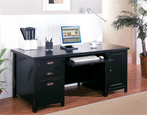 large black computer desk tribeca loft black pedestal computer desk