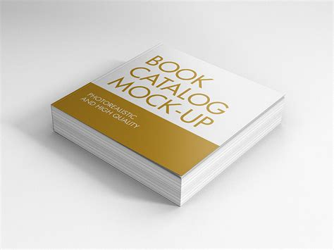 book in with picture book catalog mock ups square premium and free mockups
