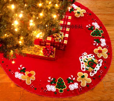 gingerbread tree skirt ho ho ho santa 43 quot bucilla felt tree skirt kit 86168