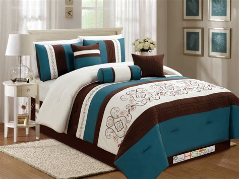 teal king size comforter sets 7 pc floral scroll damask embroidery piping comforter set