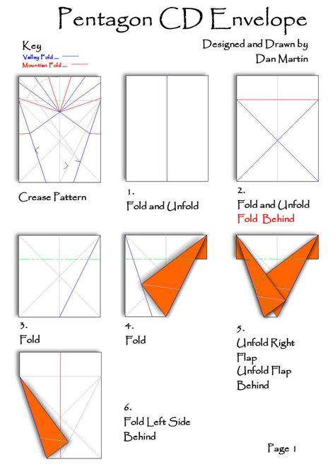 origami envelope pattern cd pentagon envelope page