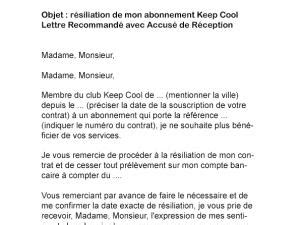modele lettre resiliation keep cool document