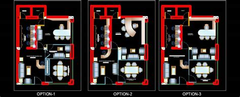 Home Design Alternatives different layout options of small office dwg plan n design